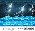 雷雨 嵐 雨のイラスト 44403969