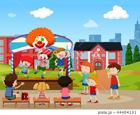 Clown stage performance scene 44404131