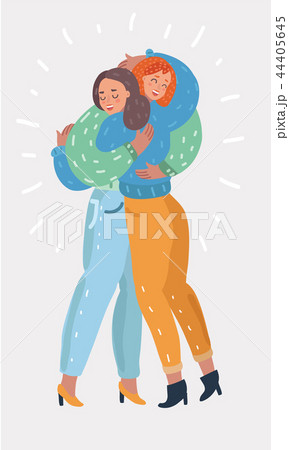 Happy friendship card, two girl friends hugging 44405645