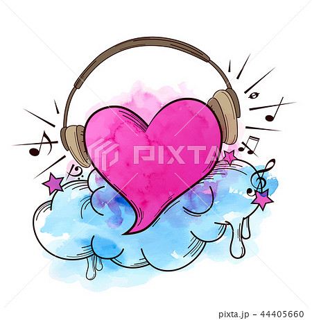 Musical retro background with heart 44405660