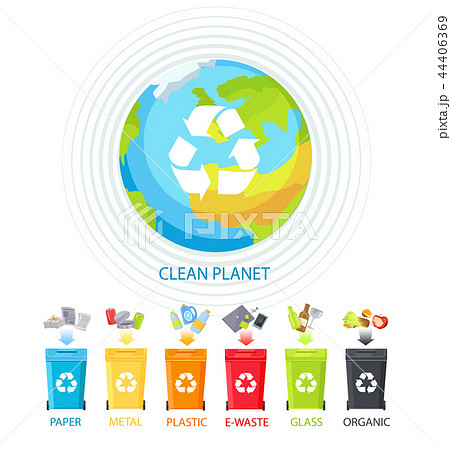 Clean Planet and Waste Recycling Colorful Banner 44406369