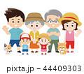 家族 夏服 仲良しのイラスト 44409303