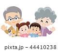 祖父母と孫とペットの猫 春服 44410238