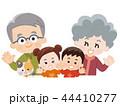 祖父母と孫とペットの猫 秋服 44410277
