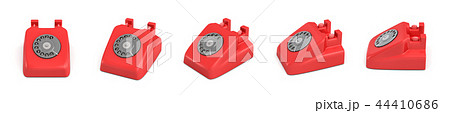 3d rendering of five isolated red retro rotary phones without receivers standing in different angles 44410686