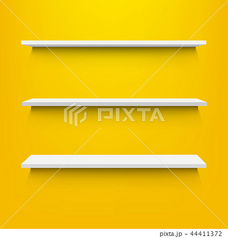 Empty Shelves With Yellow Background 44411372