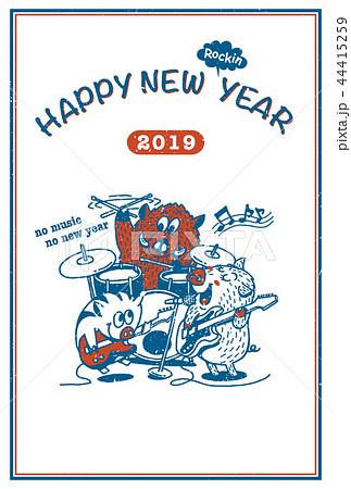 2019年賀状「イノシシファミリーのロックバンド」ハッピーニューイヤー 手書き文字スペース空き