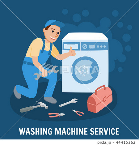 Washing Machine Service. Vector Illustration. 44415362