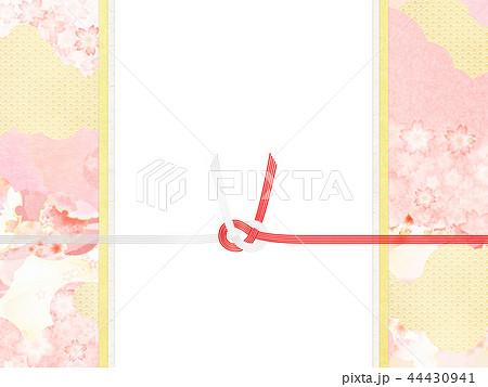 和-和風-和柄-背景-和紙-春-桜-ピンク-水引-のし 44430941