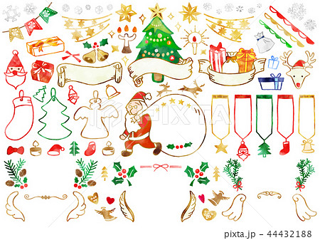 手描き クリスマス素材1 水彩 44432188