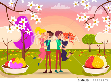 Young Happy Couples in Beautiful Park Illustration 44434479