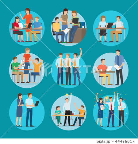 Start Up Set Poster at Work Vector Illustration 44436617