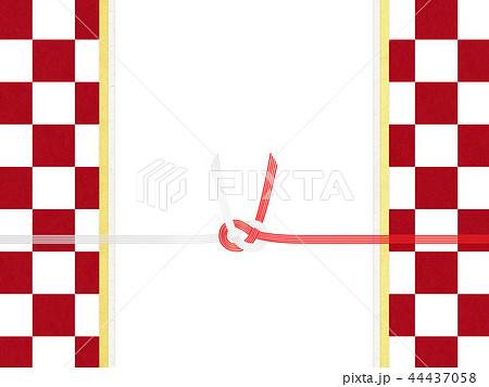 和紙-和-和風-和柄-市松模様-紅白-のし紙-水引 44437058
