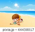 ビーチ 浜辺 少年のイラスト 44438017