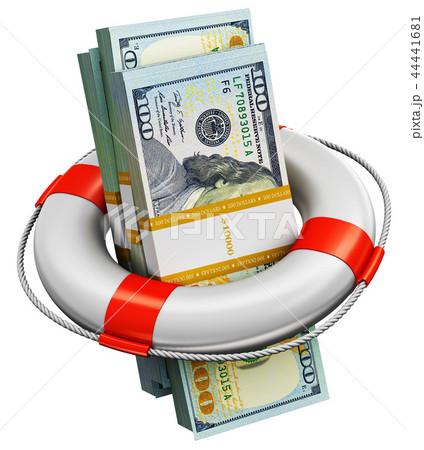 Bundles of 100 US dollar money in lifesaver buoy 44441681