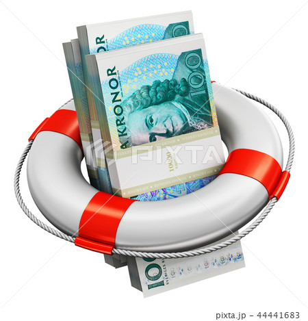 Bundles of 100 Swedish krona money lifesaver buoy 44441683
