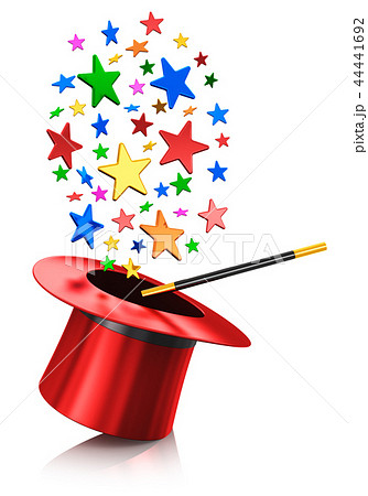 Magic hat and magic wand with color stars 44441692