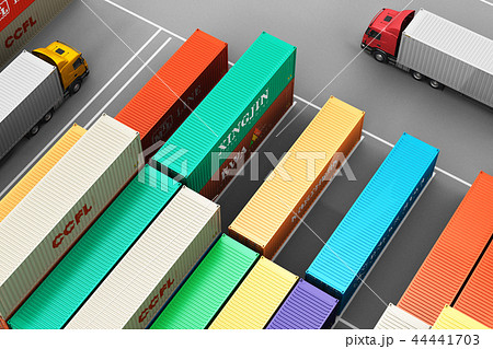 Stacked cargo containers freight sea port terminal 44441703