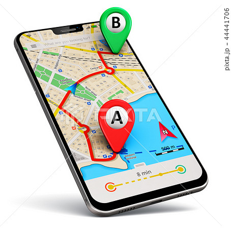 Smartphone with GPS map navigation app 44441706