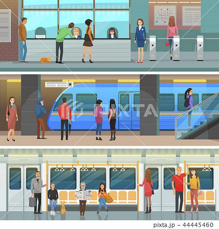 Subway Wagon, Modern Station and Entrance Set 44445460
