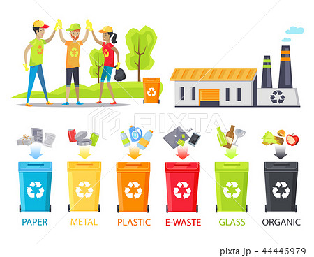 Recycling Plant and Happy Workers Colorful Poster 44446979