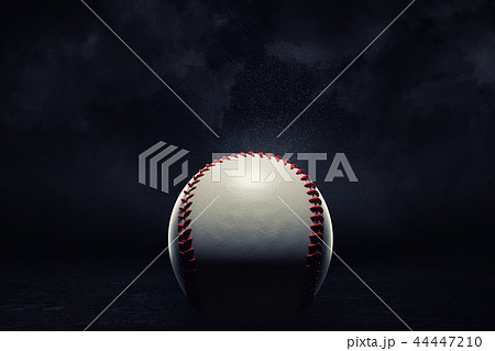 3d rendering of a single baseball ball in a close view under a spotlight on a dark background. 44447210