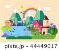 村 集落 パノラマのイラスト 44449017