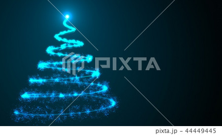 simple christmas tree as spiral from many shiny particles in space