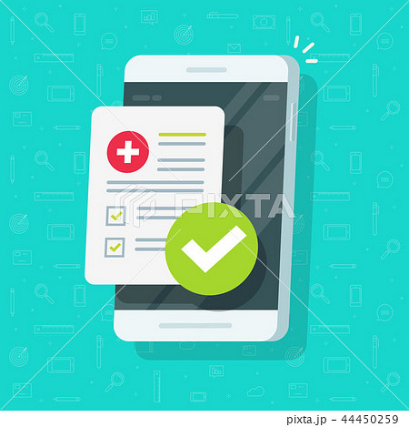 Medical form list with results data, approved check mark on mobile phone vector, flat cartoon 44450259