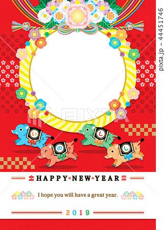 2019年亥年完成年賀状テンプレート「4色カラフルいのしし写真フレーム1枠」HAPPYNEWYEAR 44451746