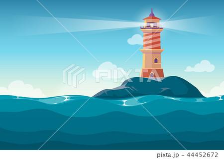 Lighthouse on rock stones island cartoon vector background 44452672