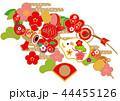 年賀状 正月 亥のイラスト 44455126