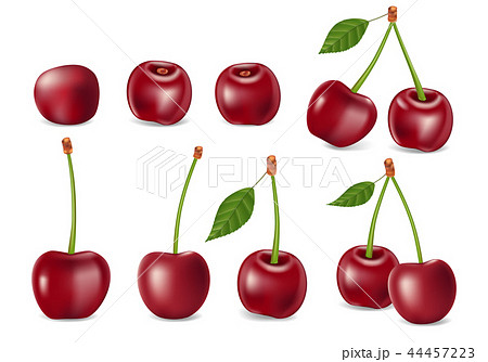 Set of realistic ripe cherry with leaves. Templates for juice, healthy diet and nutrition 44457223