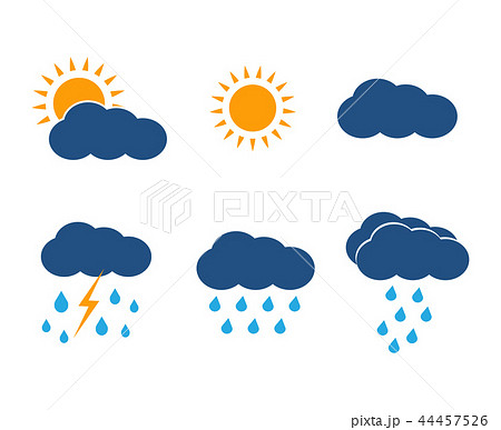 Vector weather icons set. Sun, clouds, rain, lightning. 44457526