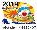 宝船 年賀状 年賀2019のイラスト 44459407