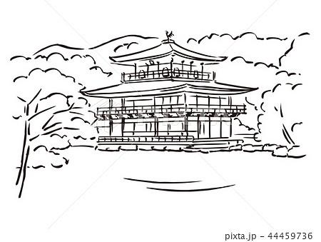 京都府京都市鹿苑寺金閣寺のイラスト素材 44459736 Pixta