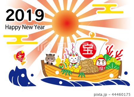 2019 ハッピーニューイヤー ご来光 宝舟 テンプレート 44460175