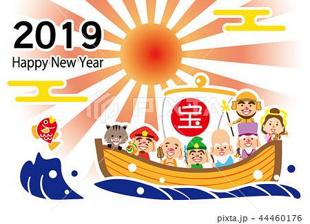 2019 ハッピーニューイヤー ご来光 七福神の宝船 テンプレート 44460176