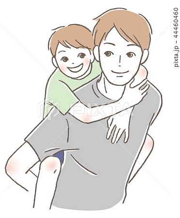 おんぶ 父親と子供 44460460