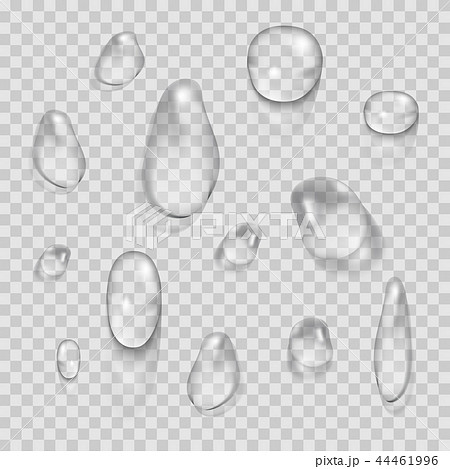 Transparent water drops vector set isolated on plaid background 44461996