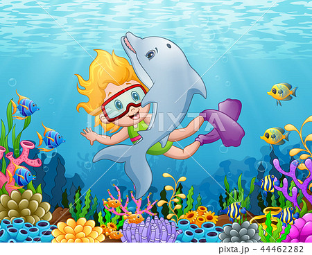 Little girl with dolphin swimming under the sea 44462282