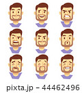 Bearded hipster man character emotions, male heads set 44462496