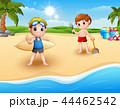 ビーチ 浜辺 少年のイラスト 44462542