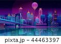 ネオン 都市景観 スカイラインのイラスト 44463397