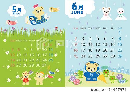 19年5月 6月 くまのイベントのカレンダーのイラスト素材