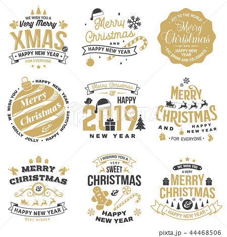 Set of Merry Christmas and Happy New Year stamp, sticker set with snowflakes, hanging christmas ball 44468506