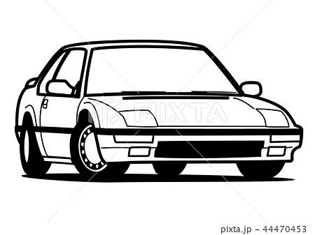 懐かしめ国産クーペ 塗り絵風 自動車イラスト 44470453