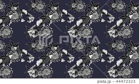 chrysanthemum pattern by hand drawing 44472323