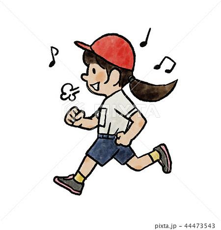 運動会で走る女の子のイラスト素材