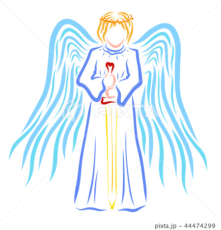 Angel with a halo or crown on his head and a sword 44474299